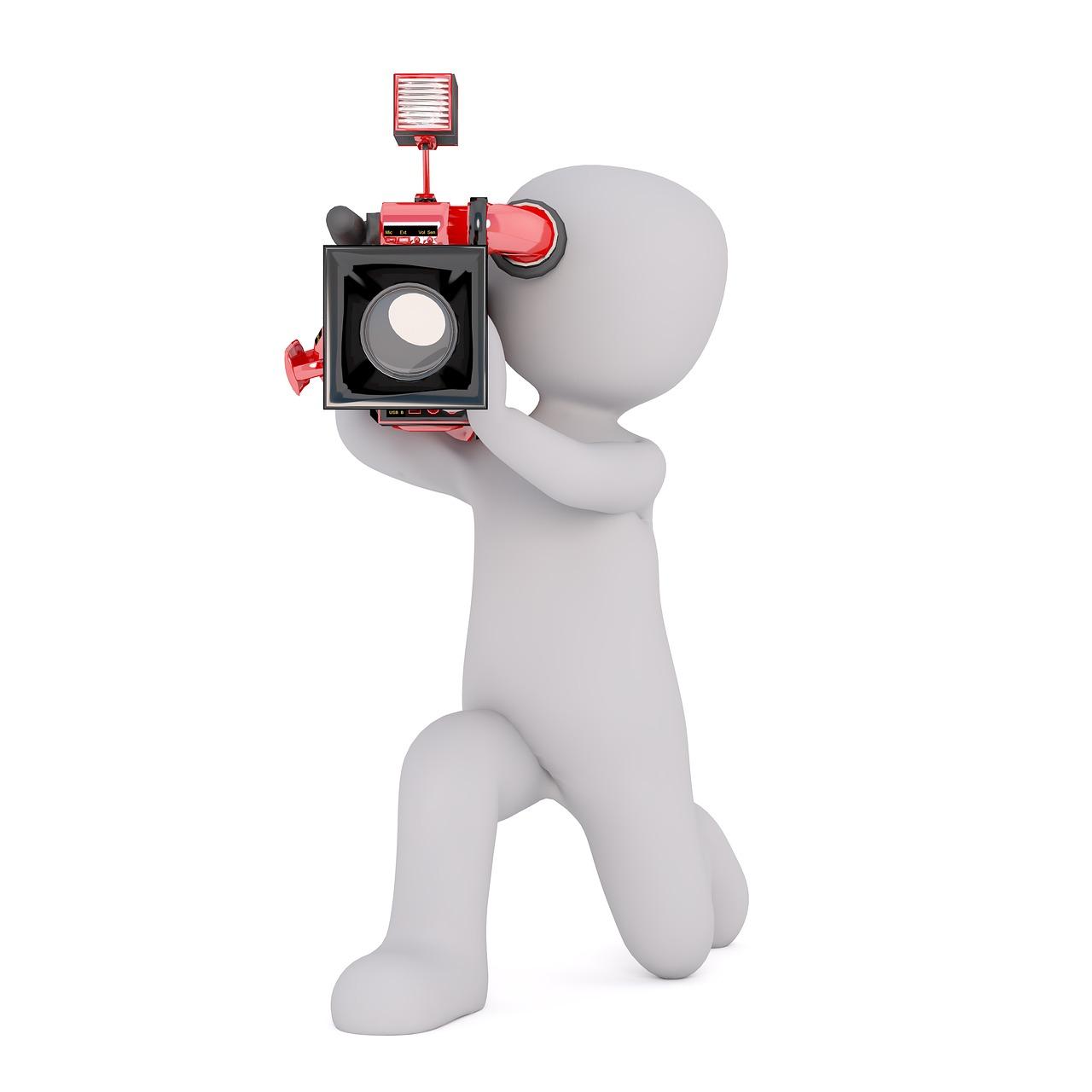 camera, video camera, man
